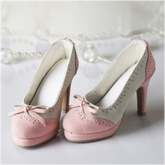 1/3 elegant pink bow high heel shoes