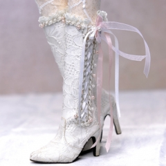 1/3 fairy lace high boots/white