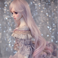 1/3 Youth BJD Pink&Purple Curl