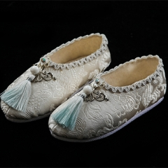 Male White Brocade Tassels Ancient Shoes