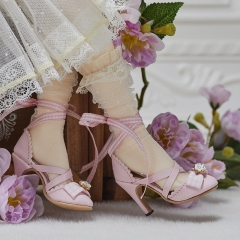 1/3 Lolita style X straps high heel shoes - Pink